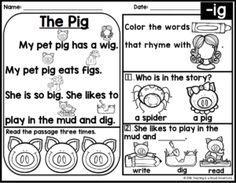 FREE Kindergarten Phonics Reading Passages