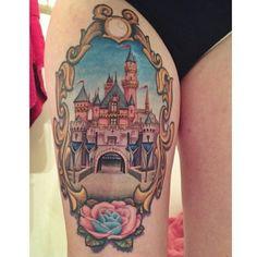 """Absolutely beautiful castle done on @heresjohnny__ #disneytattoos #disneytattoo #disneytatts #disney #disneyland #disneyworld #instadisney #ilovedisney…"""