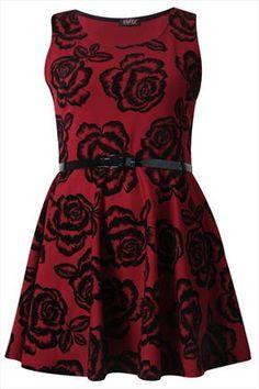 Wine And Black Sleeveless Flock Skater Dress With Patent Belt