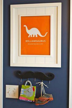 Custom Nursery Art Print, Dinosaur Digital Print, Nursery Art, Typographic Art Print