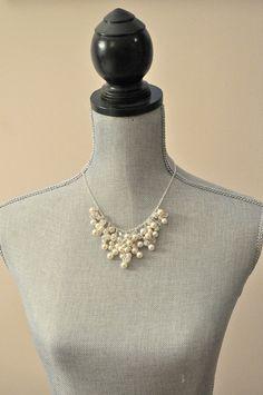Pearl Wedding Necklace Statement Wedding by somethingjeweled