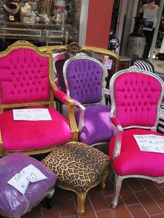 Fancy Chairs by veganbackpacker, (the animal print foot stool is to die for) Princess Chair, Fancy Chair, Living Room Seating, Dining Room, Decoration Inspiration, Beauty Room, House Rooms, My Dream Home, Girl Room