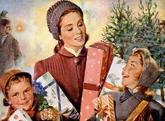 Christmas Shopping, 1947. .@@@@@.....http://www.pinterest.com/jennifergbrock/vintage-christmas-images-art-illustration-that-evo/