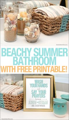 Beachy summer bathroom makeover for $30 using supplies from Dollar General. Plus a FREE printable!