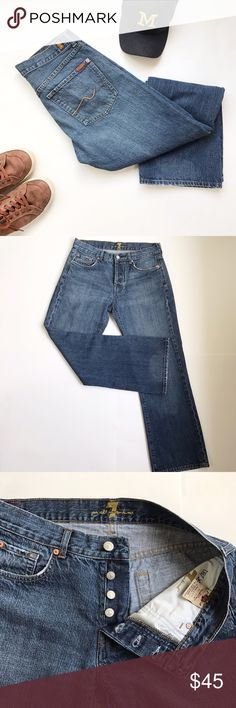 """Seven for all mankind - """"Relax"""" fit jeans. W30 L31 Seven for all mankind 7famk men's jeans. """"Relax"""" is the style. Button fly. Great previously loved condition. Very light wear on leg cuffs. Shown in photos. W30 x L31. 30x31. Marker on care tag. 7 For All Mankind Jeans Relaxed"""