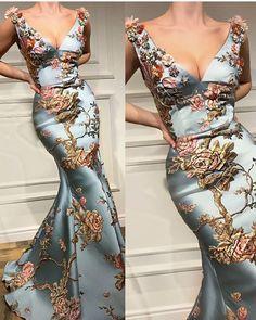 Sexy Deep V Collar Embroidery Floral Printed Fishtail Dress Maxi Dress Sexy tiefem V-Kragen Stickerei mit Blumenmuster Fischschwanz Kleid Maxi-Kleid Elegant Dresses, Pretty Dresses, Formal Dresses, Awesome Dresses, Casual Dresses, Ladies Dresses, Short Dresses, Robes Glamour, Fishtail Maxi Dress