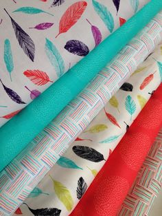 Carried Away Feather fabric bundle  by Zoe Ingram for Robert Kaufman Fabrics- Fat Quarter Bundle- 6 total on Etsy, $18.00