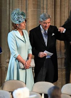 The Duchess of Cambridge's mother Carole Middleton chose sky blue Catherine Walker for Prince Harry and Meghan Markle's wedding at St George's Chapel Carole Middleton, Middleton Family, Harry And Meghan Wedding, Harry Wedding, Prince Harry Et Meghan, Prince Harry Of Wales, Meghan Markle, Pippa And James, Catherine Walker