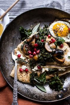 Buttered Hazelnut Crepes with Caramelized Wild Mushrooms, Kale and Goat Cheese | Half Baked Harvest