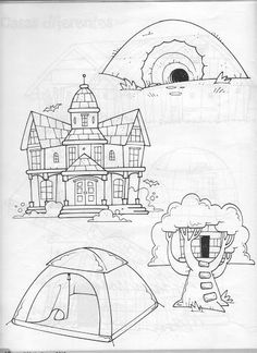 3 House Illustration, Illustrations, House Drawing, 100 Days Of School, Black N White, Life Science, Outdoor Camping, Line Drawing, Art Projects