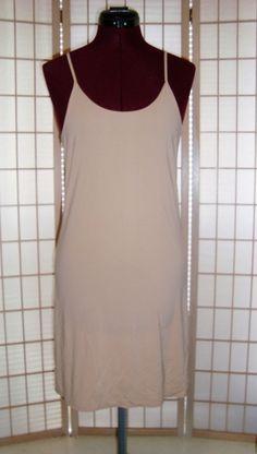 New JKY Sz S Beige Nylon Stretch Full Dress Slip #DKY #FullSlips