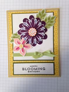 Birthday card using the Flower Patch stamp set by Stampin' Up. Inspired by a card I saw on Pinterest.