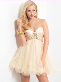 A-line Sweetheart Tulle Light Yellow Cocktail Dresses/Short Prom Dress With Beading USAZT627 $249.99