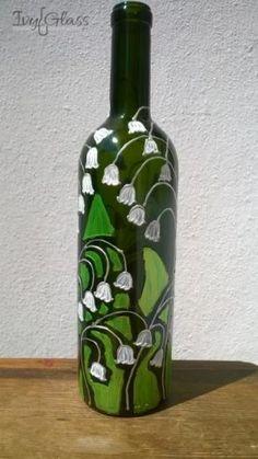 Ręcznie malowana szklana butelka - Konwalie