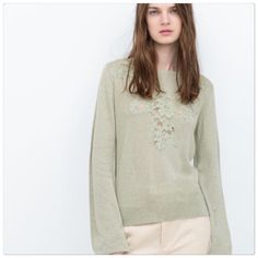 Zara lace sweater Mint sweater with lace detailing in front. Elastic cuff sleeves. Size S. Very cute! Brand new with tags. Zara Sweaters