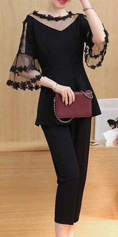 Women's Casual/Daily Work Party Sexy Cute Street chic Spring Summer Blouse Pant Suits