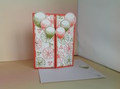 Gatefold card using Stampin'Up! Balloon Celebration Stampset, Balloon Bouquet Punch, Calypso Coral Cardstock and Ink, Old Olive Ink