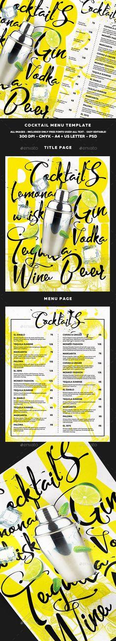 Cocktail Drinks Menu Template PSD. Download here: https://graphicriver.net/item/cocktail-drinks-menu/17190578?ref=ksioks