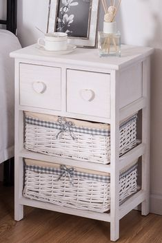This Open Shelf 3 Floor Storage Unit With Durable Paulownia Wood Structure With Two Wood Drawers And Two Wicker White Bas Wood Nightstand Nightstand Diy Floor Lamp