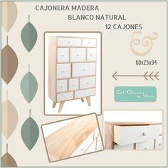 Cajonera de Madera 12 Cajones Blanco Natural.