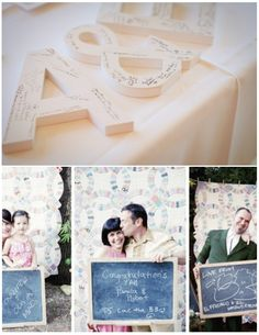 cut outs of your initials as a guest book. could hang on the wall after the wedding