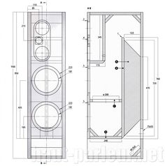Plan détaillé de l'enceinte KODEX Diy Subwoofer, Subwoofer Box Design, Speaker Box Design, Audiophile Speakers, Hifi Audio, Audio Speakers, Audio Box, Open Baffle Speakers, Woofer Speaker