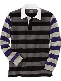 Boys Mixed-Stripe Long-Sleeved Polos