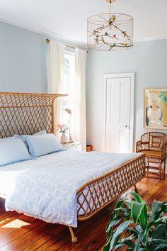 my scandinavian home: The Happy Home of Gray Benko - photo Clay Austin.  #bedroom #lightbluewalls