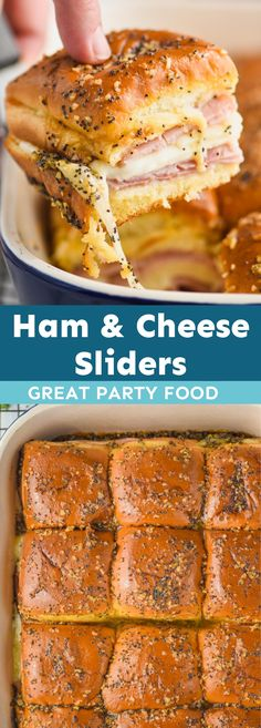 Ham and Cheese Sliders are the best solution for an easy dinner. These make the perfect party food, and will win over any crowd. Crowd Recipes, Yummy Recipes, Great Recipes, Dinner Recipes, Yummy Food, Favorite Recipes, Ham Cheese Sliders, Ham And Cheese, Grilled Burger Recipes
