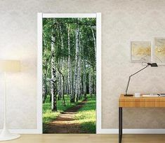 dirt road in the woods door mural Wallpaper AJ Wallpaper