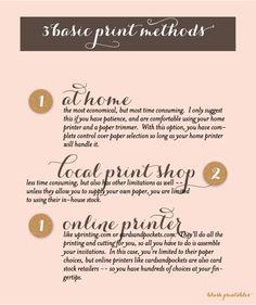 3 basic DIY #wedding #invitation print methods explained