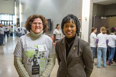 Argonne chemist Giselle Sandi (left) poses with the Honorable Dot Harris, Director of the Office of Economic Impact and Diversity at the U.S. Department of Energy, during Introduce a Girl to Engineering Day 2013 at Argonne.