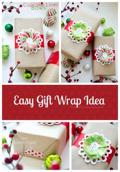 gift wrap ideas - cupcake liner flowers