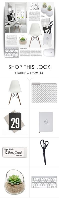 """Desk Goals: Work Space"" by cara-mia-mon-cher ❤ liked on Polyvore featuring interior, interiors, interior design, home, home decor, interior decorating, Vitra, Tom Pigeon, Paper Mate and HAY"