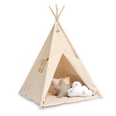 Teepee Kids Play Tent Tipi - Natural Beige