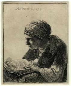 Rembrandt van Rijn (1606-1669) - Woman reading - etching - WA1855.432 © Ashmolean Museum