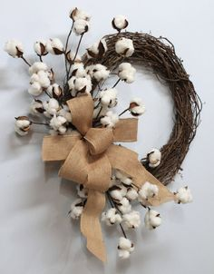 Natural Cotton Wreath Cotton Boll Wreath Natural by TheWreathShed