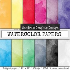 """Watercolor digital paper: """"WATERCOLOR PAPER"""" with watercolor backgrounds in bright colors / colours for scrapbooking, card making  (006)"""