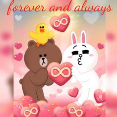 My forever ❤ Bunny And Bear, My Teddy Bear, Cute Teddy Bears, Love You Gif, Cute Love Gif, Cute Couple Cartoon, Cute Couple Art, Cute Baby Cats, Cute Bunny