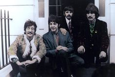 MAY 20, 1967: Photo of BEATLES; John Lennon, Paul McCartney, Ringo Starr, George Harrison - posed, group shot - outside Brian Epstein's Belgravia house for Sgt. Pepper launch (Photo by Jan Olofsson/Redferns)