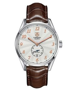 TAG Heuer Watch, Men's Swiss Automatic Carrera Calibre 6 Brown Alligator Leather Strap 39mm WAS2112.FC6181 - All Watches - Jewelry & Watches - Macy's