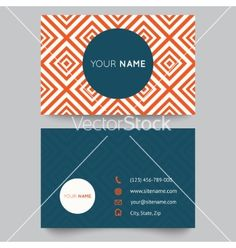 Business card template orange and white pattern vector by Kannaa on VectorStock®