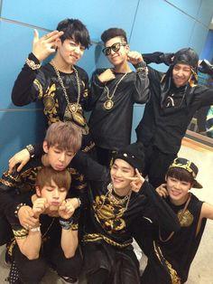 Bangtan Boys <3 - dressed for hip hop, doing aegyo XD