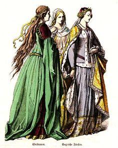 Plate #21c - Fourteenth Century      Ladies-In-Waiting, English Princess