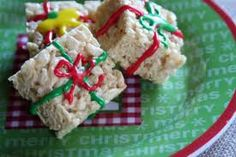 Christmas Rice Krispie Treats   Rice Krispie Presents - Cut into squares, add icing to look like ...