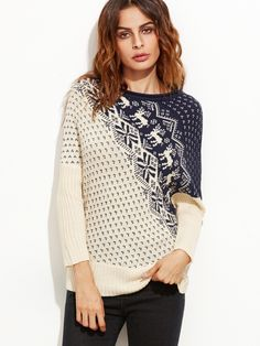 Contrast Dolman Sleeve Christmas Sweater — 0.00 € ---------------color: Apricot size: one-size