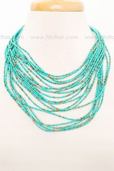 Beaded Love Necklace in Turquoise