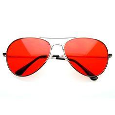 Retro Classic Metal Aviator Multi Color Tinted Lens Aviator Sunglasses 8405 59mm from zeroUV