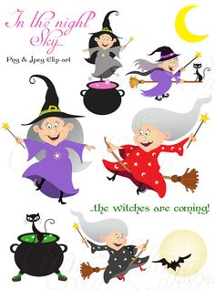 CACKLING WITCHES Clip art set in premium quality por urbanwillow