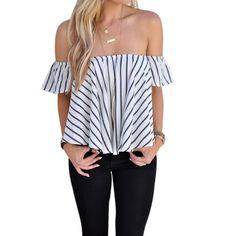 Blusen Women Fashion Striped Off Shoulder Top Short Sleeve Women Blouses Casual Cotton Summer Shirt Women Chemisier Femme